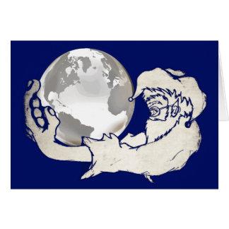 o mundo inteiro em uma mão dos macacos cartão comemorativo
