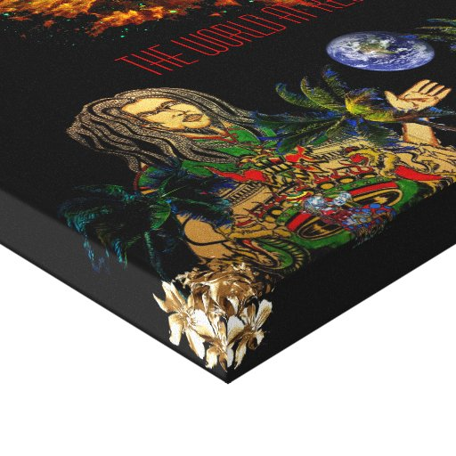 O mundo na reggae impressão em canvas