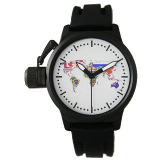 O mundo nas bandeiras relógio de pulso