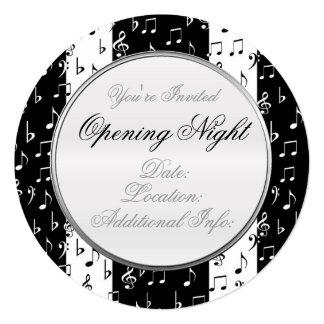 O Musical preto & branco listra em volta do Convite Quadrado 13.35 X 13.35cm