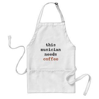 o músico precisa o café avental