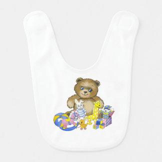 O n do ursinho brinca o babador do bebê