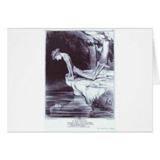 O narciso bonito por Honore Daumier Cartão Comemorativo
