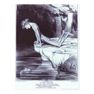 O narciso bonito por Honore Daumier Cartão Postal