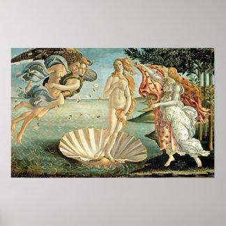 O nascimento de Venus, c.1485 (tempera em canvas) Poster