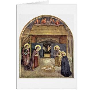 O nascimento dos cristos por Fra Angelico Cartão Comemorativo