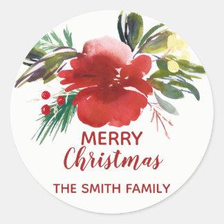 O Natal da aguarela floresce em volta da etiqueta