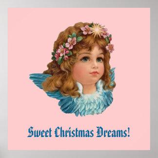 O Natal de Blue Wings do anjo do vintage sonha Poster