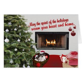 O Natal do Fox Terrier do brinquedo deseja o Cartão Comemorativo