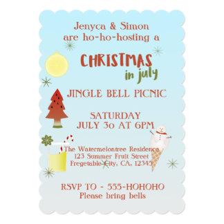 O Natal do piquenique de Jingle Bell convida em Convite 12.7 X 17.78cm