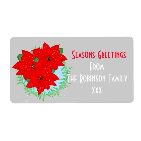 O Natal dos cumprimentos das estações floresce Etiqueta De Frete