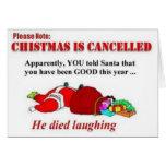O Natal engraçado é cartão cancelado