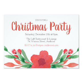 Cartão O Natal floresce o convite da festa natalícia
