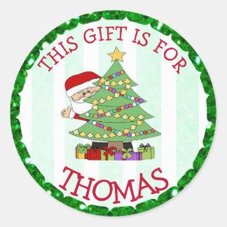 O Natal personalizado etiqueta o papai noel bonito