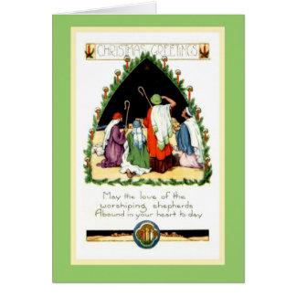 O Natal restaurado de Nouveau da arte Shepherds o Cartão Comemorativo
