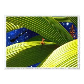 O Natal tropical de um lagarto do geco Convites Personalizado