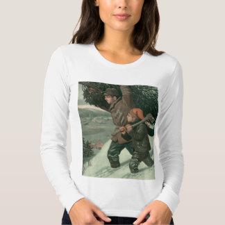 O natal vintage, o pai e o filho reduziram o aTree T-shirts