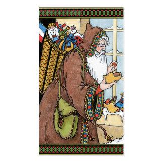O natal vintage, Papai Noel brinca calçados das Cartões De Visitas