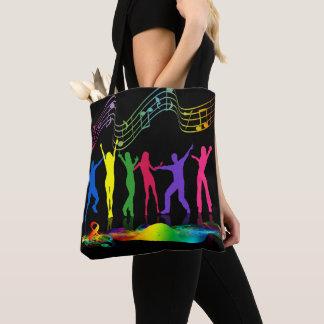 O néon colore pessoas da dança com o bolsa dos