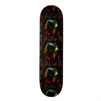 O néon de escuta dos fones de ouvido da música da  skate boards