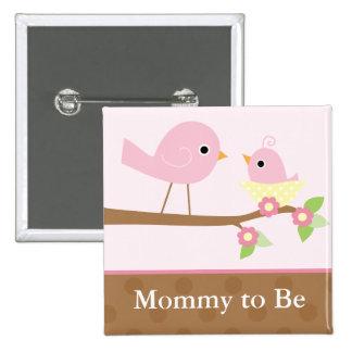 O ninho de pássaro de bebê (rosa) bóton quadrado 5.08cm