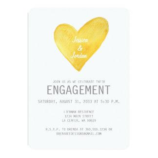 O noivado amarelo do coração da aguarela convida convite 12.7 x 17.78cm