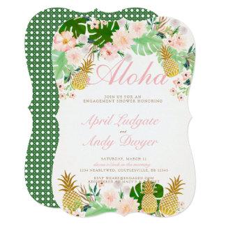 O noivado tropical cor-de-rosa convida convite 12.7 x 17.78cm