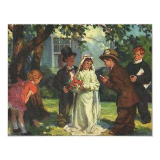 O noivo da noiva de criança do casamento vintage convite personalizado