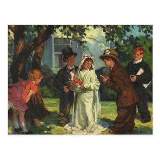 O noivo da noiva de criança do casamento vintage f cartoes postais