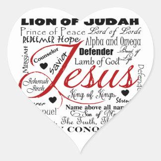O nome de Jesus Adesivo De Coração
