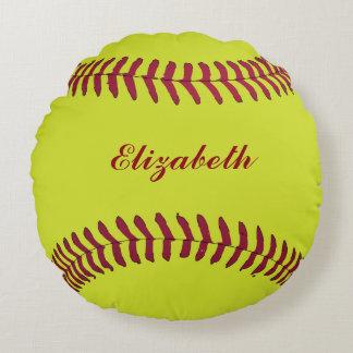 O nome do jogador do esporte da bola do softball almofada redonda