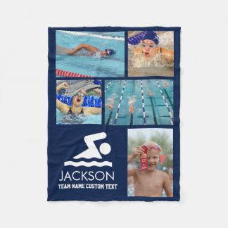 O nome do nadador nadador personalizado da colagem cobertor de lã