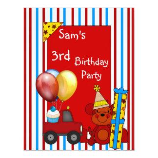 ó O caminhão vermelho Balloons o aniversário da Convites Personalizados