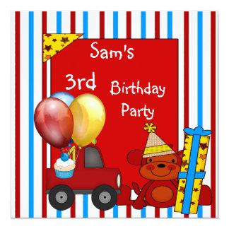 ó O caminhão vermelho Balloons o aniversário da Convite Quadrado 13.35 X 13.35cm