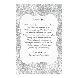 O obrigado de prata do poema do casamento do flyer