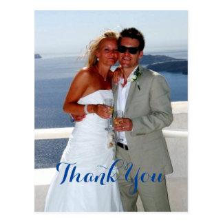 O obrigado feliz do presente de casamento do casal cartão postal