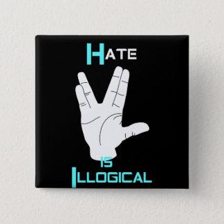 O ódio é botão ilógico da igualdade bóton quadrado 5.08cm