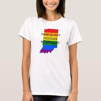O ódio não é t-shirt da hospitalidade do Hoosier Camiseta