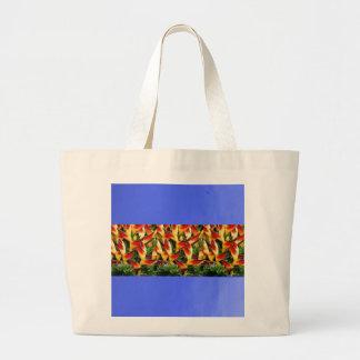 O óleo azul pintou a tira DIY da flor do impressão Sacola Tote Jumbo