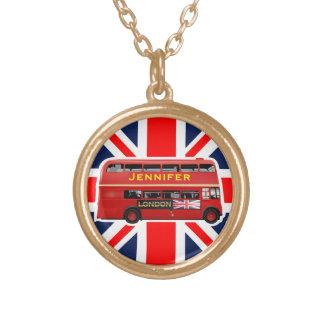 O ônibus do vermelho de Londres Colar Banhado A Ouro