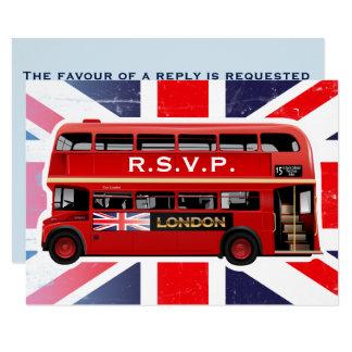 O ônibus vermelho de Londres - cartões de RSVP