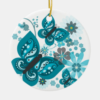 O ornamento do círculo das borboletas & das flores