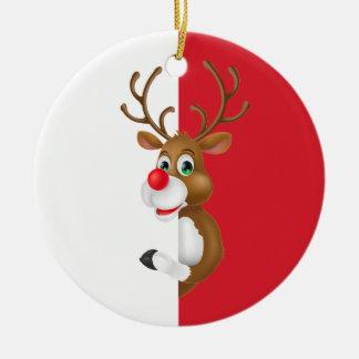 O ornamento vermelho do Natal   da rena do nariz