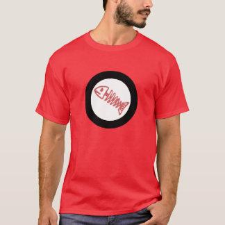 o osso de peixes escala em volta do logotipo camiseta