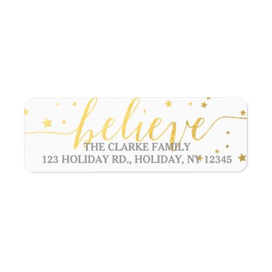 O ouro acredita a etiqueta de endereço do feriado