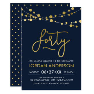 O ouro azul moderno elegante do falso ilumina o convite 12.7 x 17.78cm