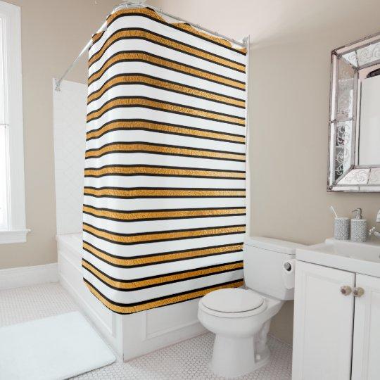 O ouro branco preto elegante listra as linhas cortina para chuveiro