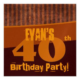 O ouro Brown do partido de aniversário de 40 anos  Convite Personalizado