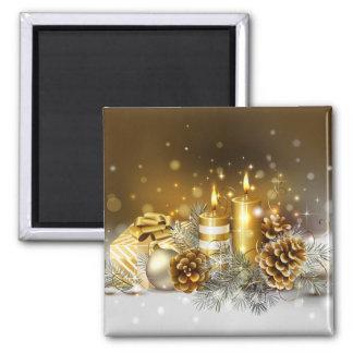 O ouro Candles o feriado elegante do Natal Ímã Quadrado