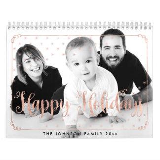 O ouro cor-de-rosa Calendars boas festas a foto Calendário